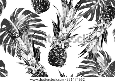 Pineapples, tropical jungle leaves. Beautiful seamless vector floral pattern background, exotic print - stock vector