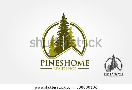 Pines Home  Logo sample, vector template - stock vector