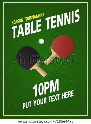 Ping pong table tennis tournament poster stock vector for Table tennis tournament template