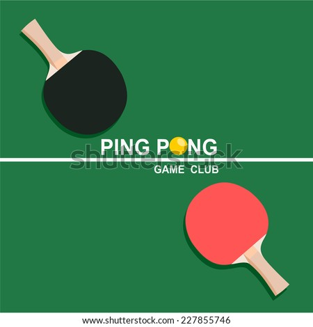 Ping-pong rackets and balls . vector/icons - stock vector