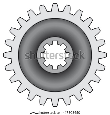 Pinion gear on white background - blend only - stock vector
