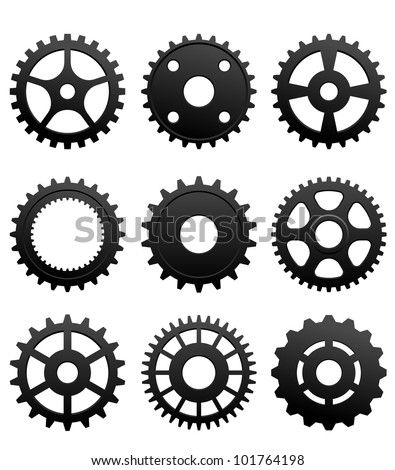 Pinions and gears set isolated on white background for machinery design. Jpeg version also available in gallery