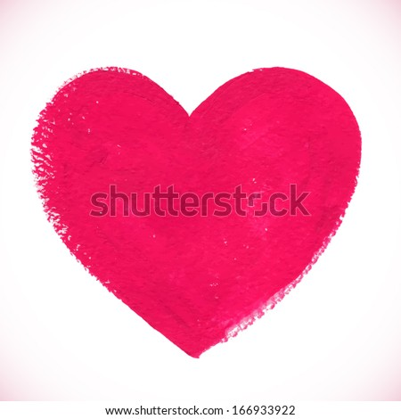 Pink acrylic painted vector heart - stock vector