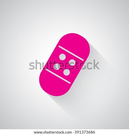 Pink Adhesive Bandage web icon on light grey background - stock vector