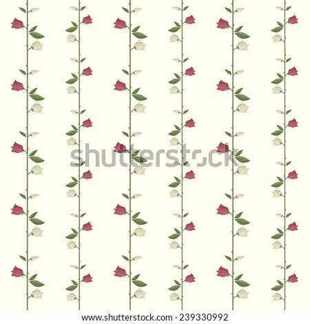 Pink and beige rose seamless pattern - stock vector