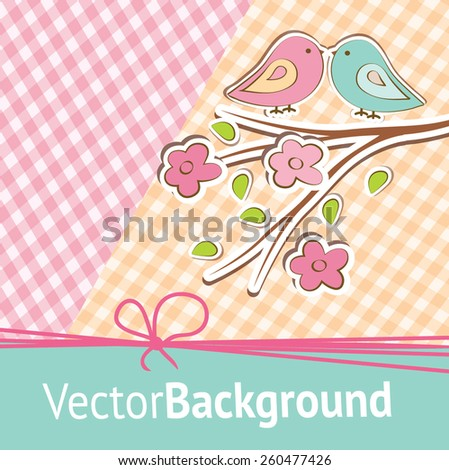 Pink and blue birdies are represented on the striped background. Flat image of vector - stock vector