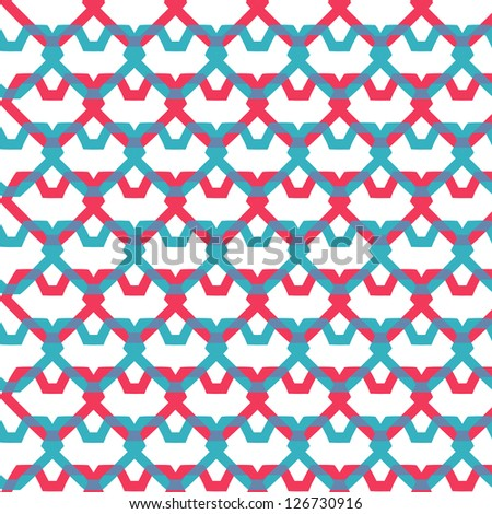 pink and blue hearts seamless texture - stock vector
