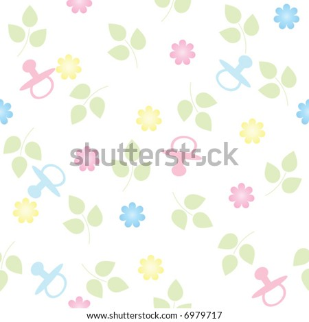 pink and blue pacifiers and flowers repeating, seamless baby background - stock vector