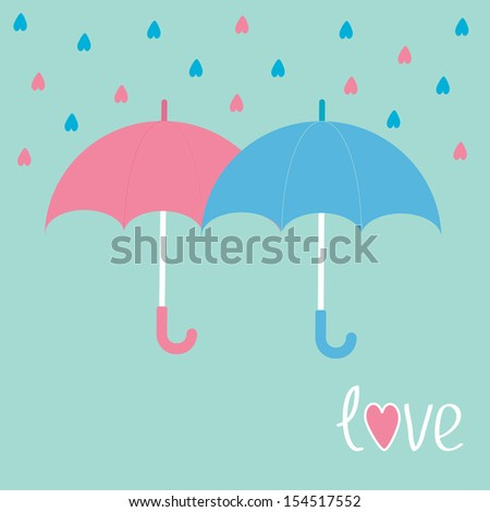 Pink and blue umbrellas. Rain in shape of hearts. Love card. Vector illustration. - stock vector