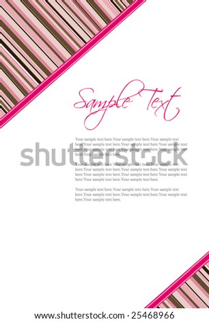 Pink and Chocolate Brown Stripes Invitation template