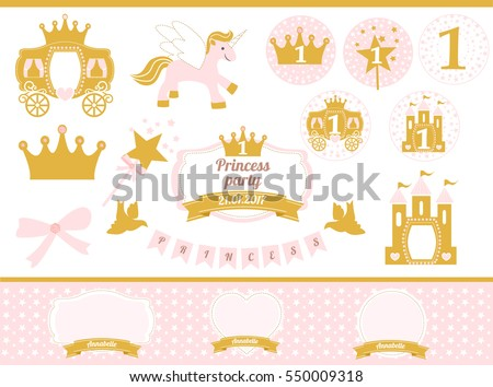 Pink Gold Princess Party Decor Cute Stock Vector 550009318