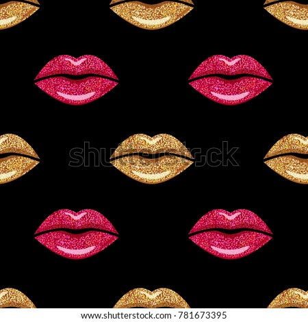 Pink And Gold Shimmer Lipstick Kiss Lips Girl Mouth Makeup Seamless Pattern