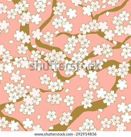 Pink and golden cherry blossom flower pattern background. Background image of vintage Japanese style pink and golden cherry blossom flower pattern.