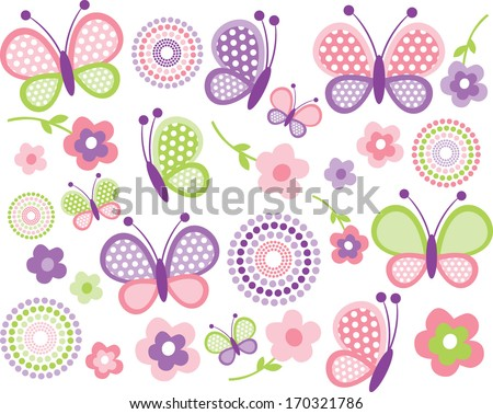 Pink and Green Butterflies - stock vector