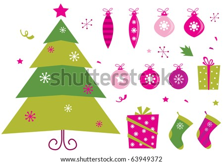 Pink and green retro christmas icons and elements. Retro christmas set: pink & green christmas tree, presents and balls. Vector illustration. - stock vector