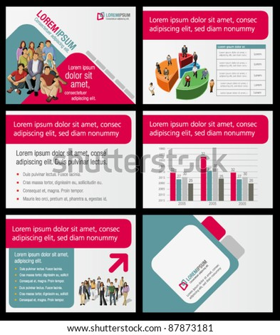 Pink and green template for advertising brochure with business people