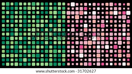 Pink and green vector square mosaic on black background - stock vector