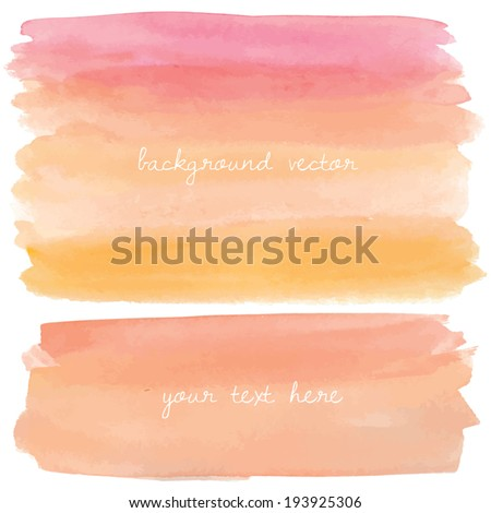 Pink and Orange Watercolor Background. Painted Watercolor Vector Background - stock vector