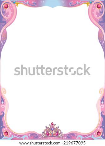 Pink Purple Princess Decorative Frame Tiara Stock Vector 219677095 ...
