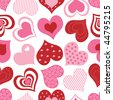 Pink and red hearts vector - stock vector