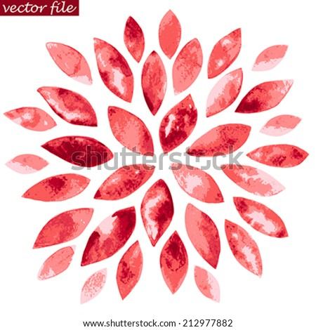 Pink and Red Watercolor Vector Sunburst Flower - stock vector
