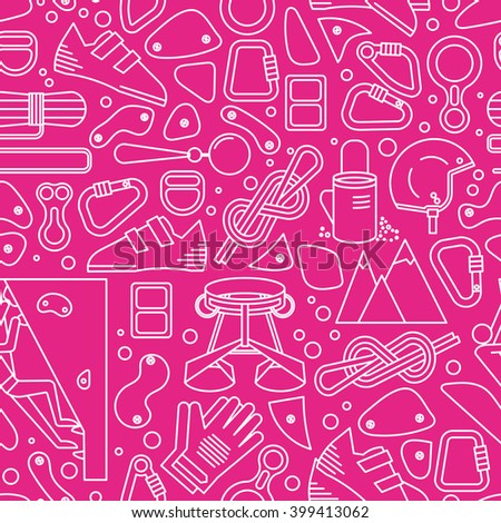 Pink and white seamless pattern with image of climbing equipment. Completed in linear style. - stock vector