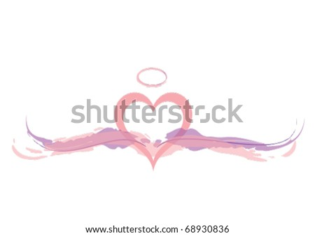 Pink Angel Heart with Wings and Halo.eps 10 - stock vector