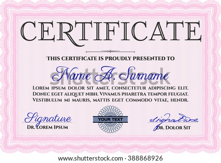 Awesome Certificate Template Award Money Pattern Stock Vector ...