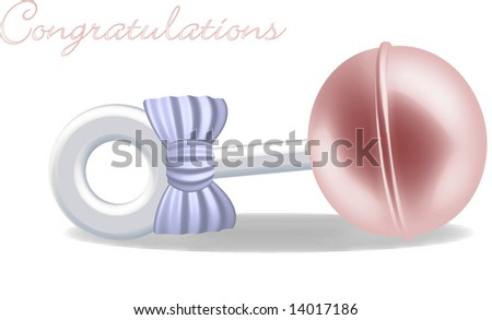 Pink Baby Rattle - stock vector