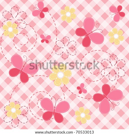 Pink baby seamless with butterfly. Vector illustration. - stock vector