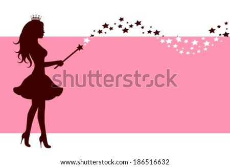 Pink background with a silhouette of a fairy with a magic wand stars - stock vector
