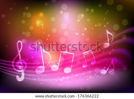 Pink background with abstract musical notation - stock vector