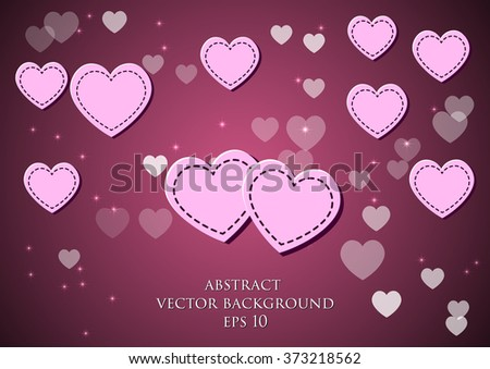 pink background with applique hearts of Valentine's Day