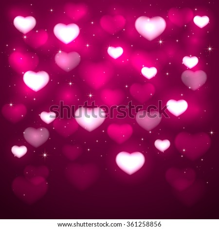 Pink background with blurry hearts and stars, illustration. - stock vector