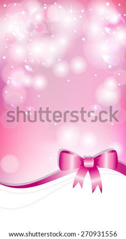 Pink background with bow - stock vector