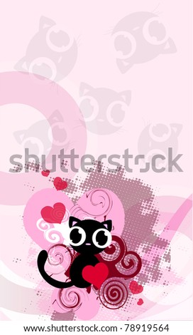 pink background with cat