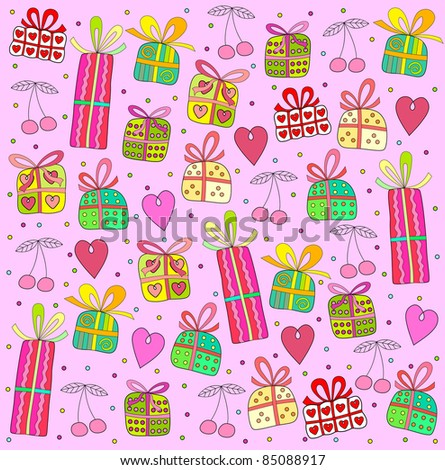 pink background with colored gifts - stock vector