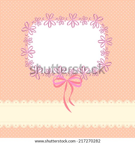 Pink background with lace ribbon, a pattern of small circles and the frame  - stock vector
