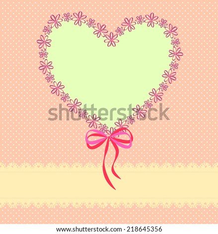 Pink background with lace ribbon, a pattern of small circles and the heart-shaped paper floral  frame  - stock vector