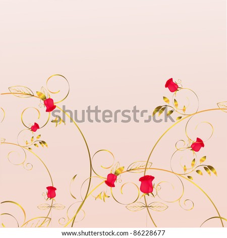pink background with roses - stock vector