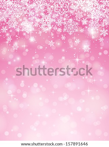 pink background with snowflakes, vector illustration - stock vector
