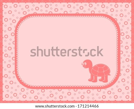 Pink background with turtle (vector) - stock vector
