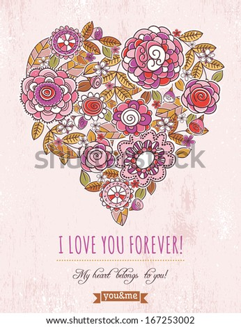 pink background with valentine heart of spring flowers,  vector illustration - stock vector