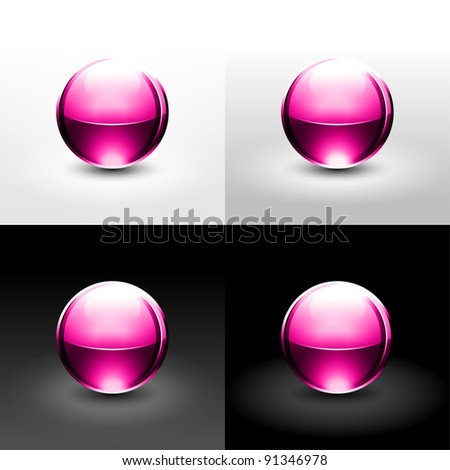 Pink ball with shadow and glowing on white, gray and black background. This vector illustration created in the technique of wire mesh and saved 10 eps - stock vector