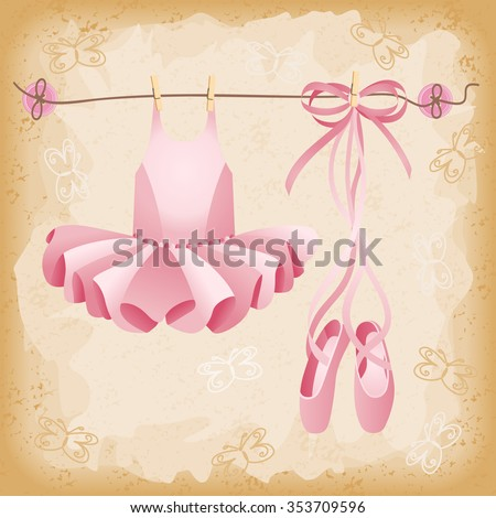 Pink ballet slippers and tutu background  - stock vector