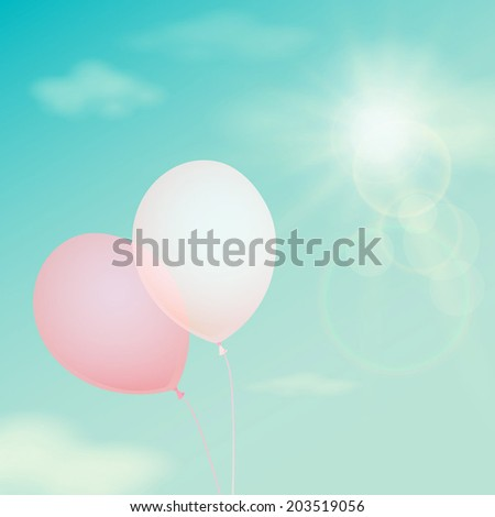 Pink balloon on the background sky. Vector vintage filter - stock vector