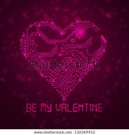 Pink Be My Valentine card with circuit board texture. Vector background. - stock vector