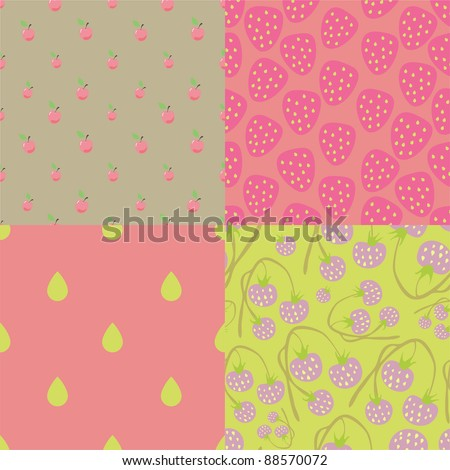 pink berry seamless patterns - stock vector