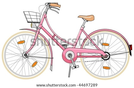 pink bicycle for woman - stock vector
