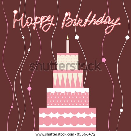 Pink Birthday Cake - stock vector